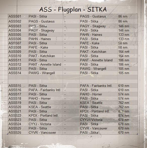 PASI - SITKA - Flugplan Sitkaroute